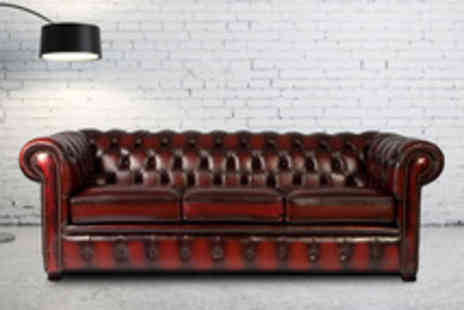 Leather Fabric Sofas - Two seater Chesterfield sofa - Save 80%