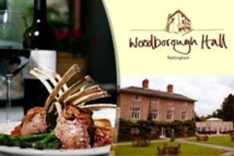 Woodborough Hall - Three Course Meal For Two With Canapes and Arrival Drink - Save 50%