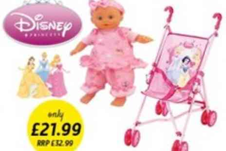 Disney - Princess 2 in 1 Baby Doll and Stroller Set - Save 33%