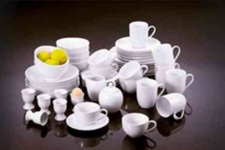 Dinnerwarehouse - 50 Piece White Porcelain Dinner Set - Save 55%