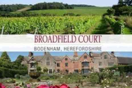 Broadfield Court - Three Course Lunch For Two Plus Entrance to Vineyard and Gardens With Wine Tasting - Save 60%