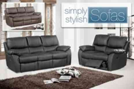 Simply Stylish Sofas - Wandsworth Leather Two and Three Seater Reclining Sofa Set - Save 50%