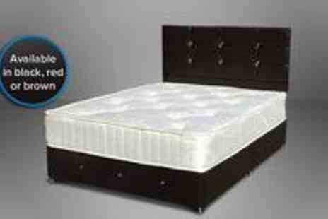 SleepyKing - 3 Diamante faux leather divan bed with a headboard and a mattress - Save 70%