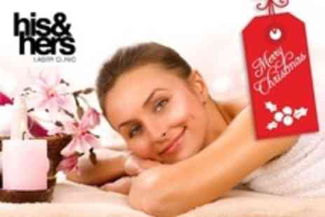His and Hers Laser Clinic - Pamper Package with Back Massage, Facial and Manicure - Save 28%