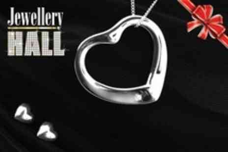 Jewellery Hall - One Diamond Heart Pendant and Earrings Set Including Delivery - Save 74%