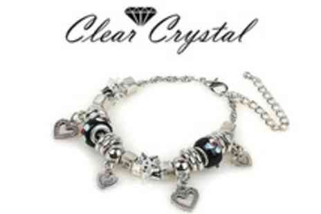 Clear Crystal - Blue or Black Charm Bracelet - Save 60%