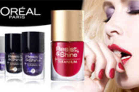 Simi Fashion - Set of four LOreal Resist and Shine Titanium nail polishes in a choice of shades - Save 72%