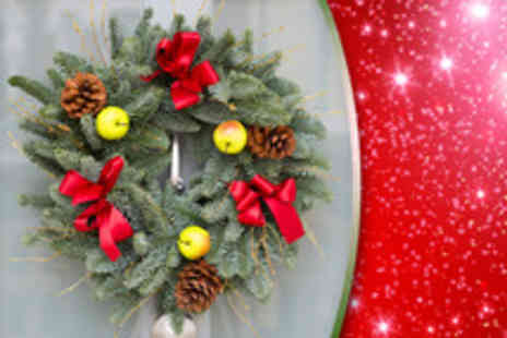 Debenhams Flowers - Frosted pinecone or red berry and pinecone wreath - Save 46%