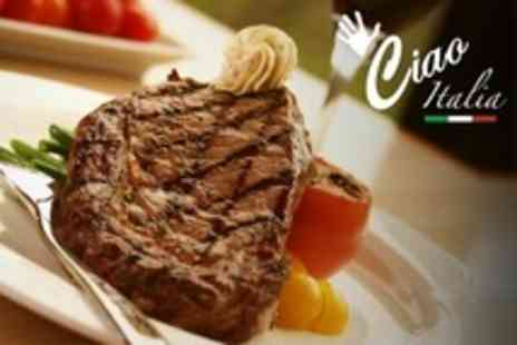 Ciao Italia - Steak and Wine For Two - Save 59%