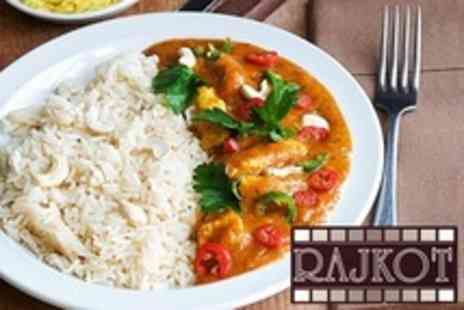 Rajkot Indian Restaurant - Two Indian Meal Courses For Two With Rice or Naan Each - Save 66%