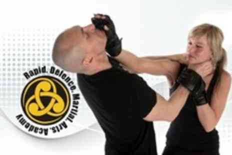 Rapid Defence Martial Arts Academy - Private Self Defence Lesson, Seven Group Classes, Gloves - Save 20%