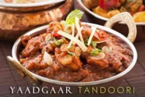 Yaadgaar Tandoori - Two Course Indian Meal With Sides and Hot Drinks For Two - Save 58%