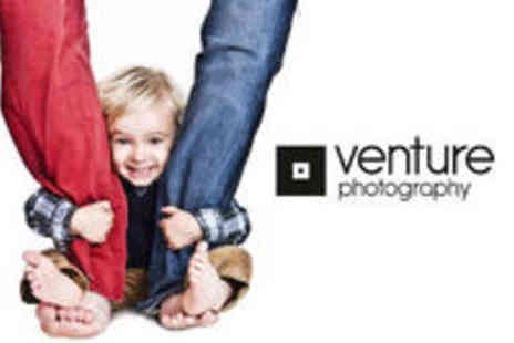 Venture Photography - Family Photo Shoot with a Framed Print plus a Wall Art Voucher - Save 92%