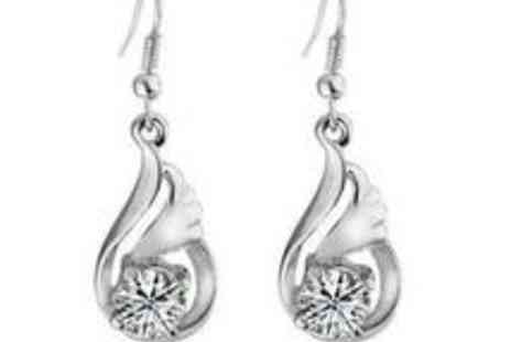 Eezee Lifestyle - Set of White Gold Drop Earrings with Swarovski Elements - Save 91%