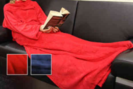 Global Shoppers - Sleeved blanket in red or blue stay warm this winter - Save 40%