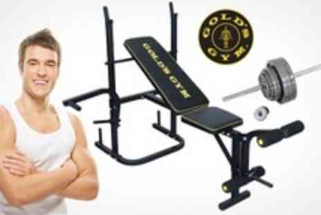 RFE International - Golds Multi Gym Bench Set Including 6 Straight Bar and 38.5kg of Weights - Save 45%