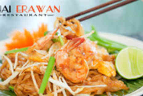 Thai Erawan - Two course Thai meal with wine for Two People - Save 55%