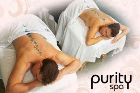 Purity Spa - Hot Stone Massage for Two Plus Champagne Afternoon Tea - Save 61%