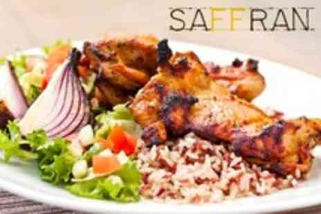 SAFFRAN - Fusion Meal For Adults or Families With Wine or Soft Drink Each - Save 59%