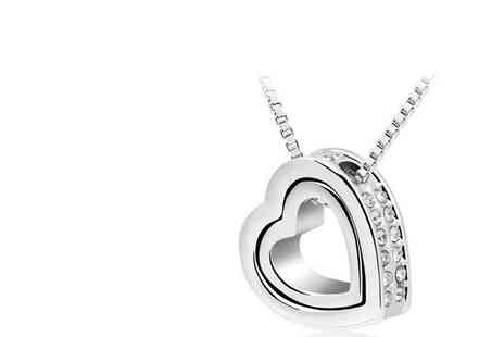 Coco Beach - White Gold Plated Heart Pendant with Swarovski Elements - Save 33%