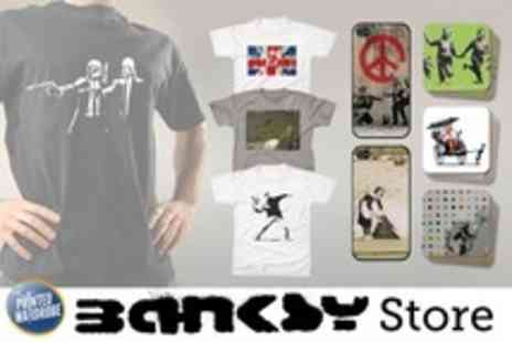 Printed Wardrobe - Banksy T Shirt, Coaster Set, or Cover - Save 55%