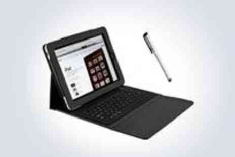 Kwickstore - Stylish PU leather keyboard case for the iPad 1, 2 or 3, complete with a stainless steel stylus pen - Save 76%