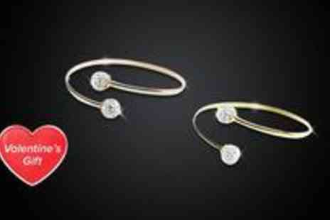 Love Crystal - Rose gold plated sterling silver torque bracelet with two stunning Preciosa Crystal balls - Save 45%