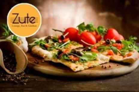Zute Lounge Bar and Kitchen - Two Course Pizza Meal With Wine For Two - Save 51%