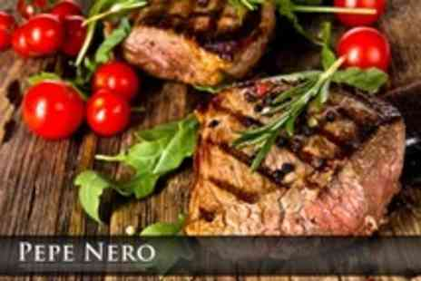 Pepe Nero - Two Course Italian Meal For Two with Choice of Main including Steak or Seabass Plus Coffee - Save 56%