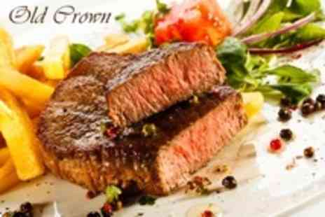 The Old Crown - 12oz Steak Meal and Dessert For Two Plus Bottle of Wine - Save 53%