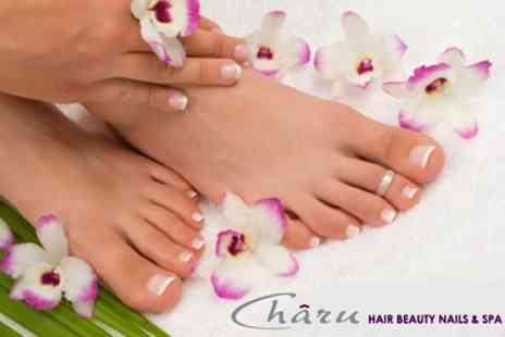 Charu Hair Beauty Nails & Spa - 90 Minute Manicure and Pedicure With Leg and Arm Massage - Save 71%