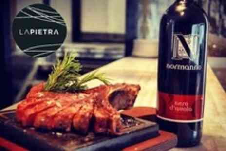 La Pietra - Three Course Italian Meal With T Bone Steak Option Plus Sides and Wine For Two - Save 68%