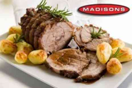 Madisons Bistro Bar - Three Sunday Roast Courses For Two - Save 52%