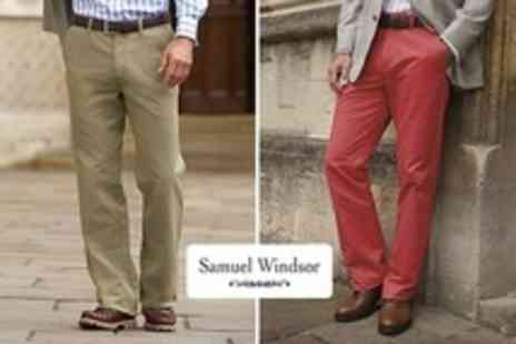 Samuel Windsor - Men's 100% Cotton Chinos in Choice of Colours - Save 68%