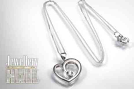Jewellery Hall - Sterling Silver Heart Pendant and Chain With Swaroswki Zirconia - Save 80%