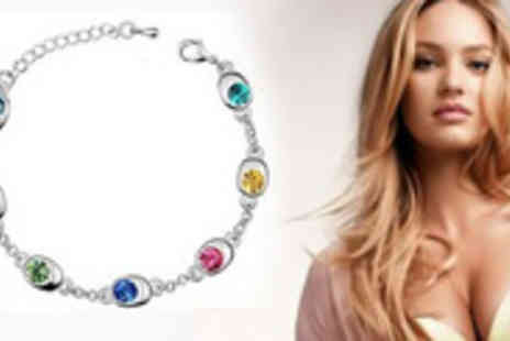 AMA Gifts - Valentines day with this multi colour, crystal Swarovski bracelet - Save 79%