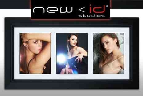 New ID Studios - Deluxe Makeover Photo Shoot With Haircut and Handmade Black Frame with Three Images - Save 90%