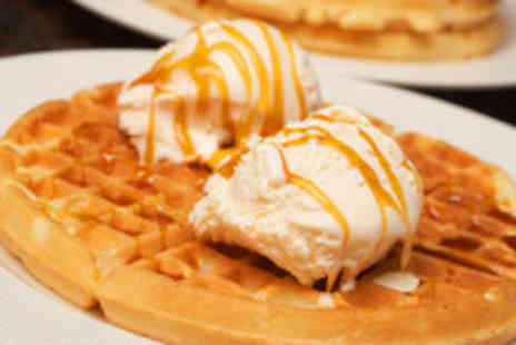 Scotts - Two Belgian waffles with ice cream and your choice of topping plus 2 hot chocolates - Save 53%