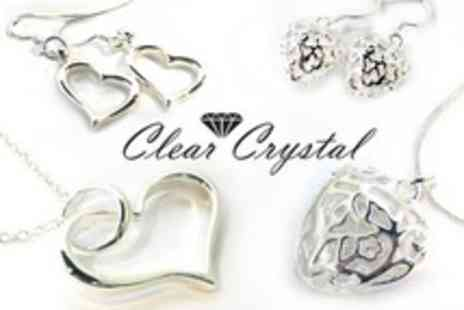 Clear Crystal - Heart Shaped Sterling Silver Jewellery Including Delivery - Save 79%