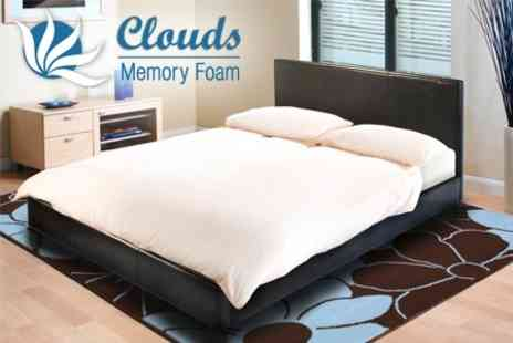 Clouds Memory Foam - Deluxe Design Double or King Bedstead With Super Deluxe Memory Foam Mattress - Save 75%