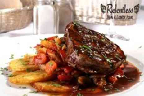 Relentless - Sirloin Steak and Prawns For Two - Save 45%