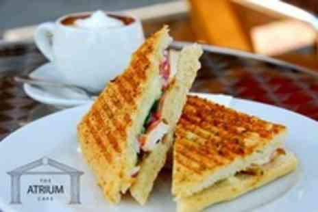 The Atrium Cafe - Panini and Hot Drink For Two - Save 58%