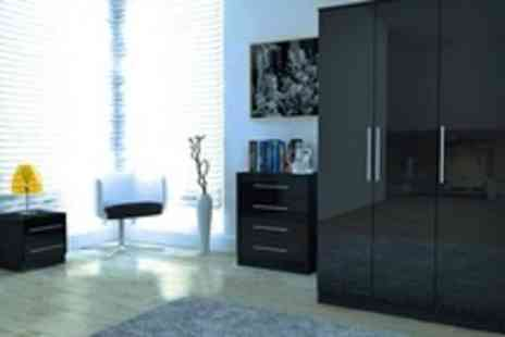 Right Deals UK - Toronto Caspian Gloss Bedroom Furniture With a Choice of Black or Light Oak Edging - Save 49%