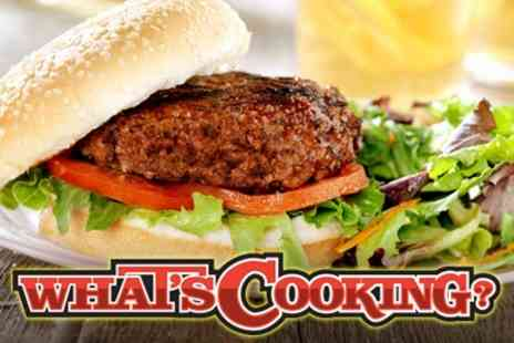 What's Cooking? - Burger Meal and Beer For Two for £12 - Save 59%