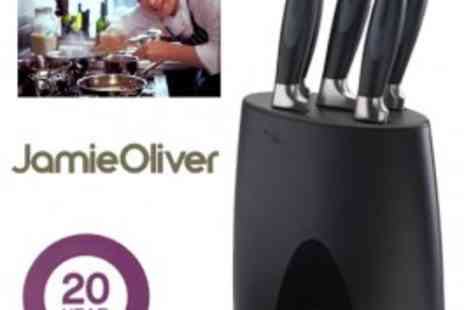 Jamie Oliver - 5 High Quality Professional Jamie Oliver Knives With Storage Block - Save 56%