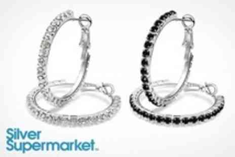 Silver Supermarket - Hoop Earrings with Swarovski Elements - Save 72%