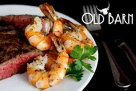 Old Barn Steakhouse - Surf and Turf For Two With Prime Sirloin Steak and Tiger Prawns - Save 52%