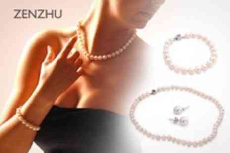 Zenzhu - One White Pearl Jewellery Set With Free Delivery - Save 90%
