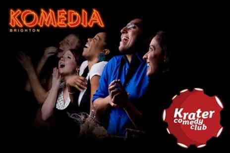 Komedia - Krater Comedy Club Meal Deal Ticket Plus Bottle of Beer - Save 60%