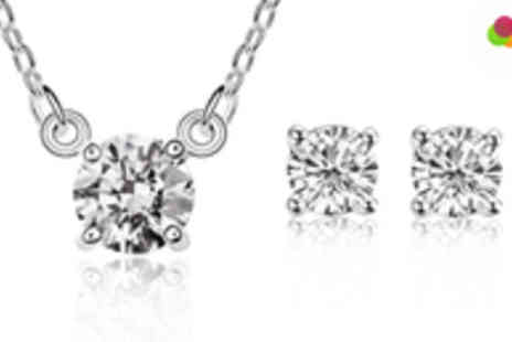 Roolyn - 18k White Gold Plated Crystal (White / Pink) Necklace & Earrings Set  - Save 89%